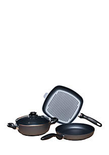 4-Piece Fry Pan Casserole and Grill Pan Set