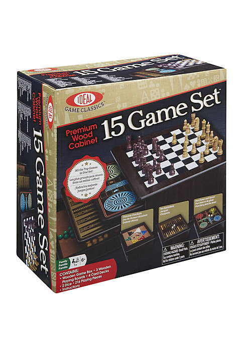 Premium Wood Cabinet 15 Game Set