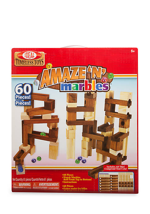 Ideal Amaze N Marbles 60-Piece Classic Wood Construction