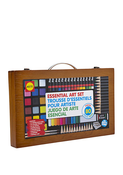 Art Portable Essential Art Supplies Set with Wood Carrying Case