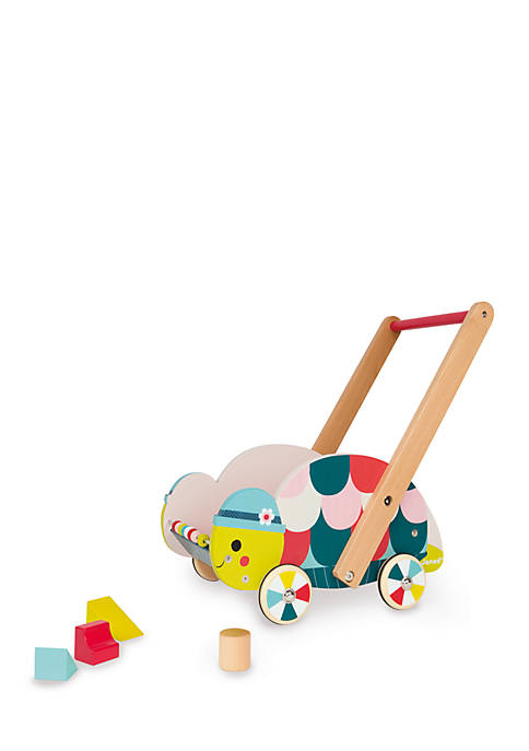 Janod Baby Forest Turtle Trolley with 12 Blocks