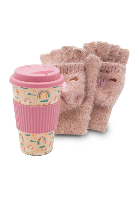 FAO Schwarz Girls Gloves and Travel Cup Set