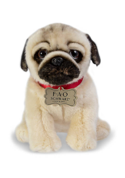 FAO Schwarz 10 Inch Plush Realistic Pug Puppy