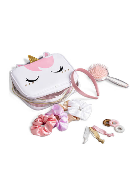 Flawless Fashion Kids Hair Accessory Set and Unicorn Carrying Case