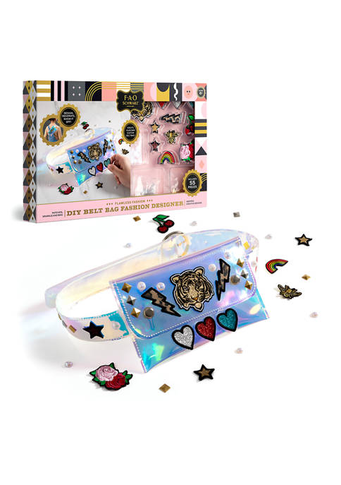 Girls DIY Belt Bag Rhinestone Gold and Silver Stud Craft Kit with Embroidered Patches