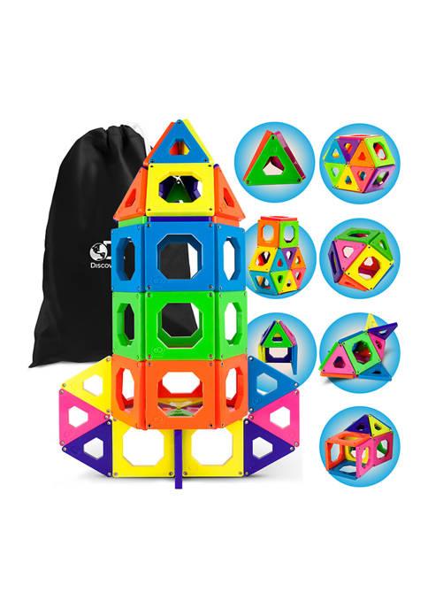 Discovery Kids 50-Piece Magnetic Building Tiles Construction Set