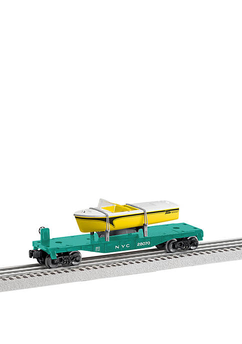 New York Central O Gauge Model Train Flatcar with Boat Load