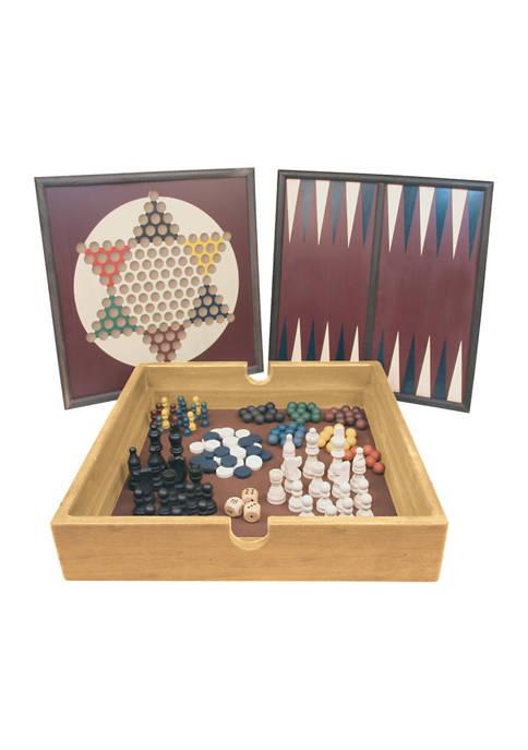 AreYouGame.com 5-in-1 Wood Game Set