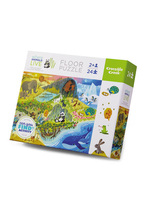 Early Learning - Where Animals Live Floor Puzzle with Placemat: 24 Pieces