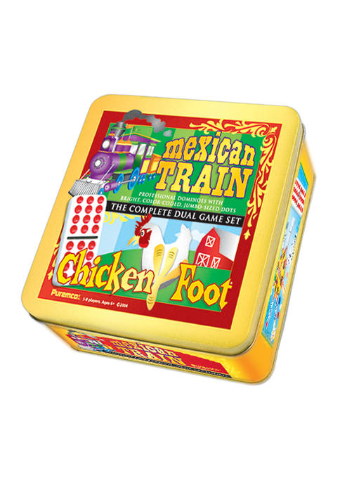 Mexican Train & Chickenfoot Dominoes - Complete Dual Game Set in a Tin