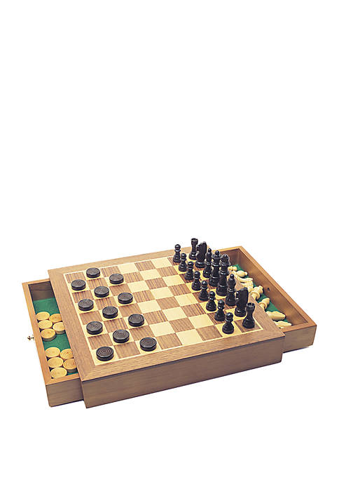 House of Marbles Deluxe Wooden Chess/Checkers/Draughts Family