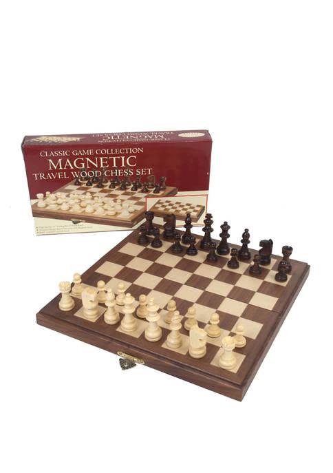 John N. Hansen Co. Travel Magnetic Walnut Chess