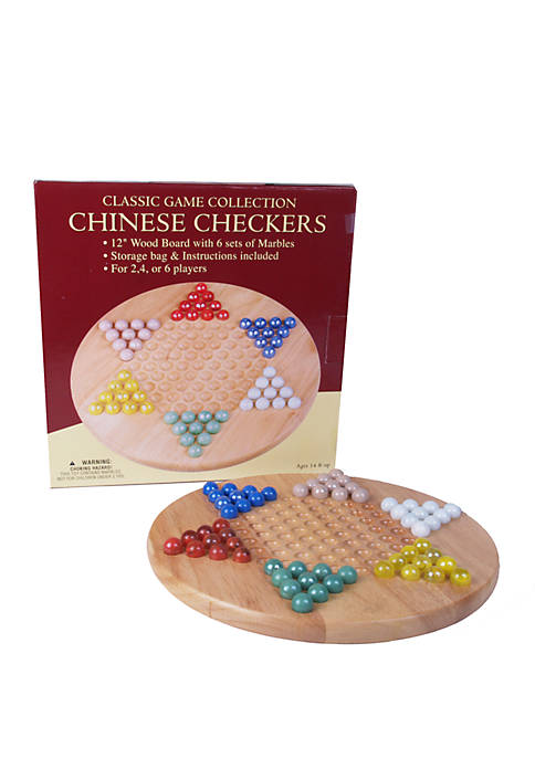 Classic Game Collection 12 Inch Wood Chinese Checkers Set with Marbles