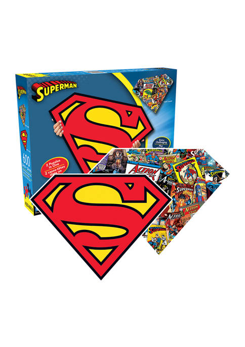 DC Comics - Superman Logo and Collage Double-Sided Shaped Jigsaw Puzzle: 600 Pieces