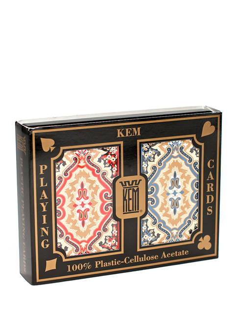KEM Playing Cards - Paisley Red and Blue: Narrow Jumbo