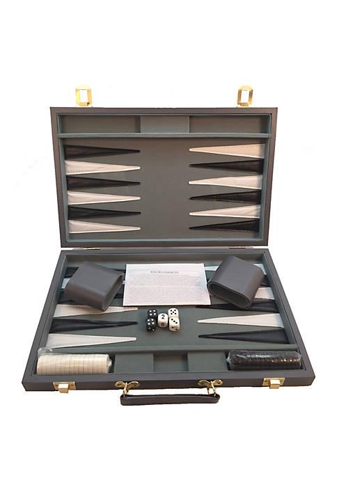 18-inch Gray Vinyl Backgammon Set
