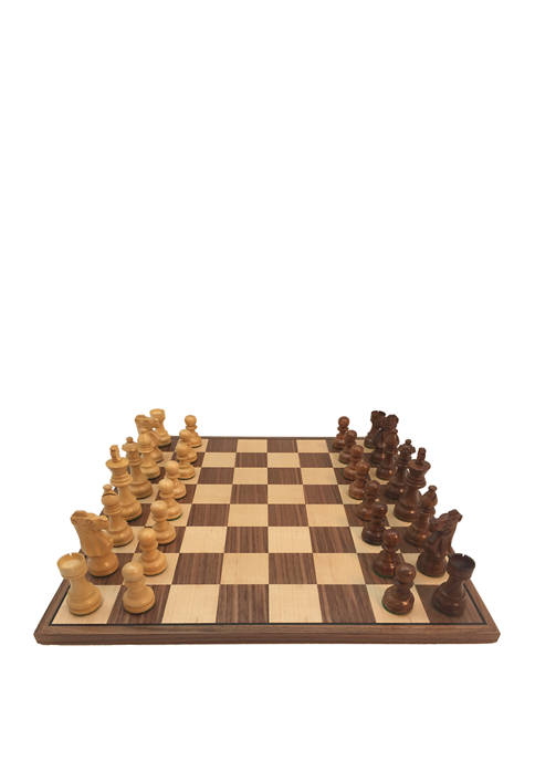 3.5 Inch Sheesham French Chess Set with Walnut Board