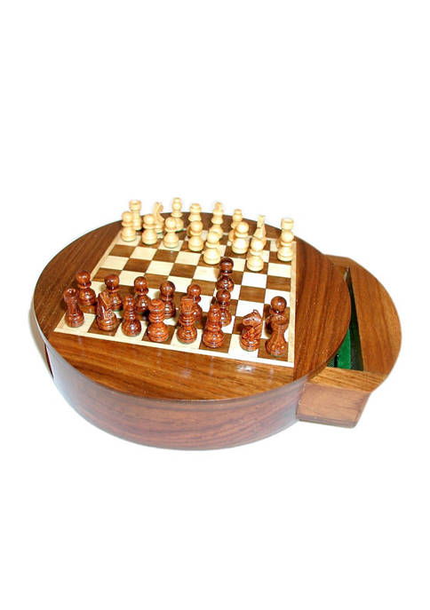 6 Inch Magnetic Round Wood Inlaid Chess Set with Slide Drawer
