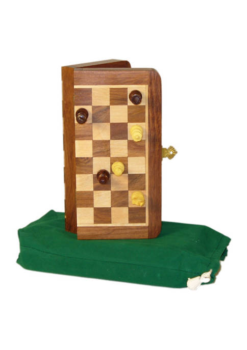 7 in x 3.5 in Magnetic Wooden Folding Travel Chess Set
