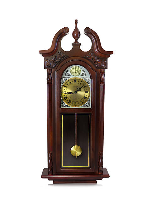 38 Inch Grand Antique Chiming Wall Clock with Roman Numerals in a Cherry Oak Finish