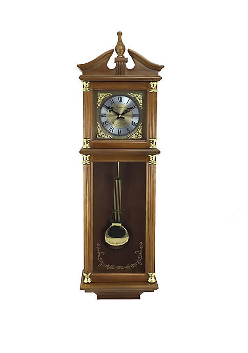 Bedford Clock Collection 34.5 Inch Antique Chiming Wall
