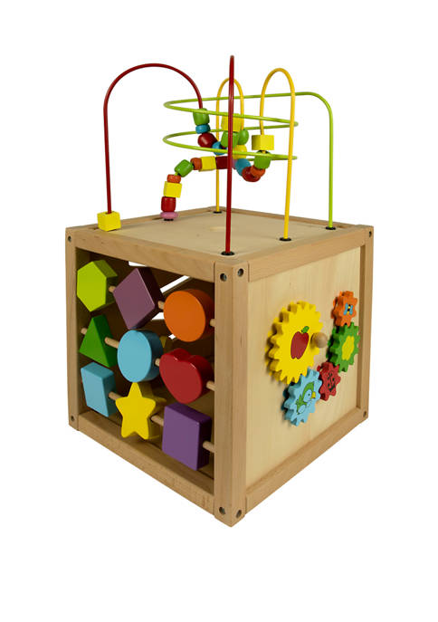Classic Toy Wooden 5 Sided Activity Cube