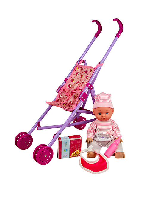 Kid Concepts 13 Inch Baby Doll with Stroller