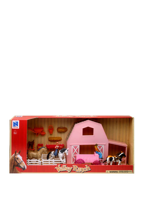 Valley Ranch Pink Barn with Horse Playset