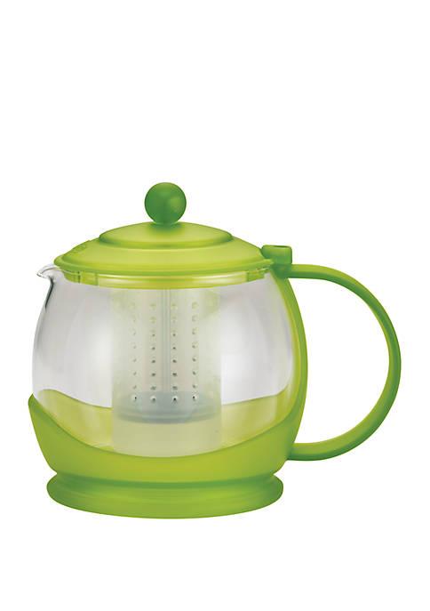 "Tea ""Prosperity"" Borosilicate Glass Teapot with Plastic Frame, 42 Ounce, Jasmine Green"