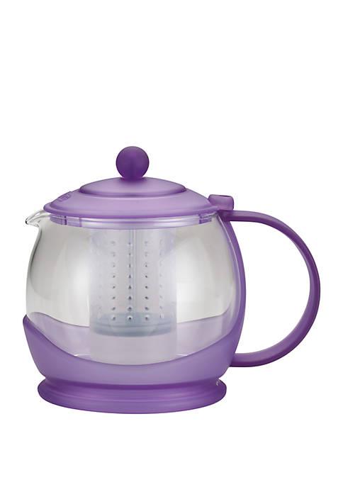 "Tea ""Prosperity"" Borosilicate Glass Teapot with Plastic Frame, 42 Ounce, French Lavender"
