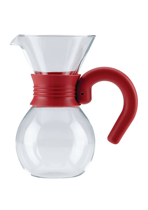 Coffee Pour Over Brewer and Pitcher, 20 Ounce, Glass with Red Handle