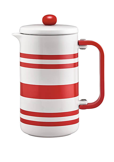 BonJour® Stoneware French Press, 8 Cup, Red Stripes