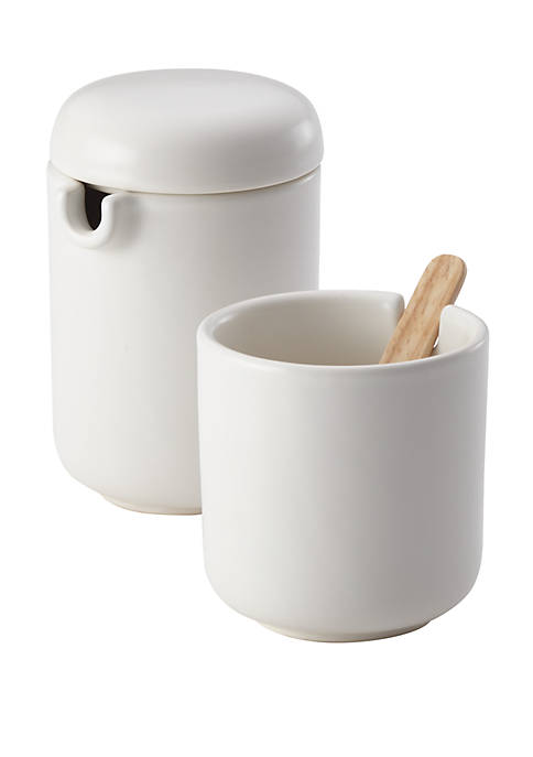 Ceramic Coffee and Tea Sugar and Creamer Set, Matte White