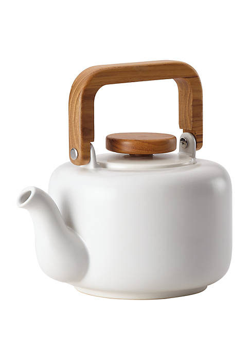 Ceramic Coffee and Tea 8 Demitasse Cup Ceramic Teapot with Infuser, Matte White
