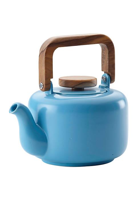 Ceramic Coffee and Tea 8 Demitasse Cup Ceramic Teapot with Infuser, Aqua