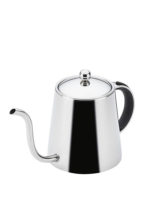 Stainless Steel Pour Over Teapot with Black Handle, 23 Ounce