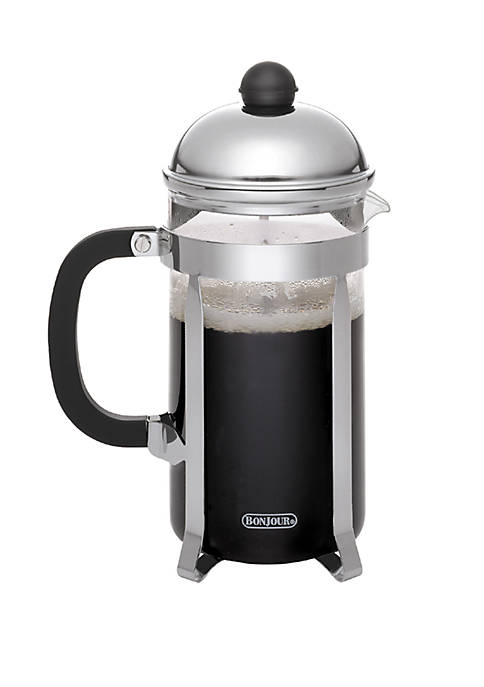 Coffee Stainless Steel French Press with Glass Carafe, 12.7 Ounce, Monet, Black Handle