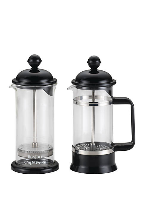 Coffee Borosilicate Glass French Press & Milk Frother Set, 12.7 Ounce, La Petite, Black
