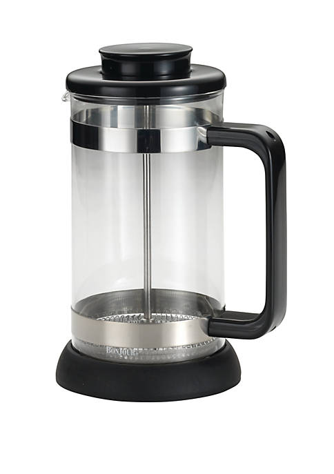 Coffee Borosilicate Glass French Press with Coaster & Scoop, 33.8 Ounce, Riviera, Black