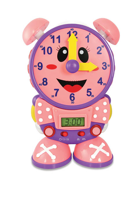 Telly The Teaching Time Clock Pink - Electronic Analog & Digital Time Telling Aid with Two Quiz Modes & Night Light– Preschool Toys & Gifts for Boys & Girls Ages 3 & Up