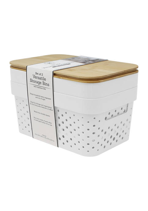 Set of 2 Storage Bins with Bamboo Lids