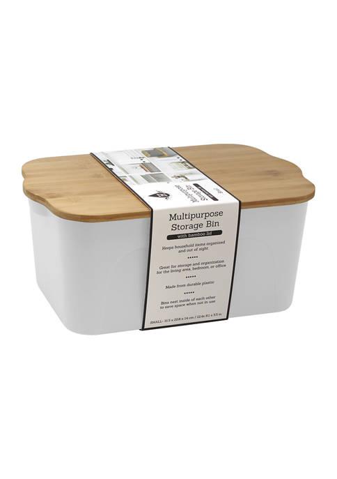 Medium Plastic Bin with Bamboo Lid
