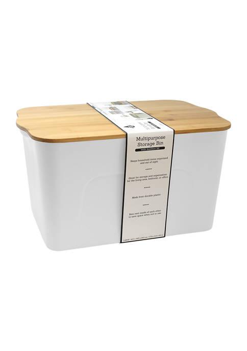 Farberware Large Plastic Bin with Bamboo Lid