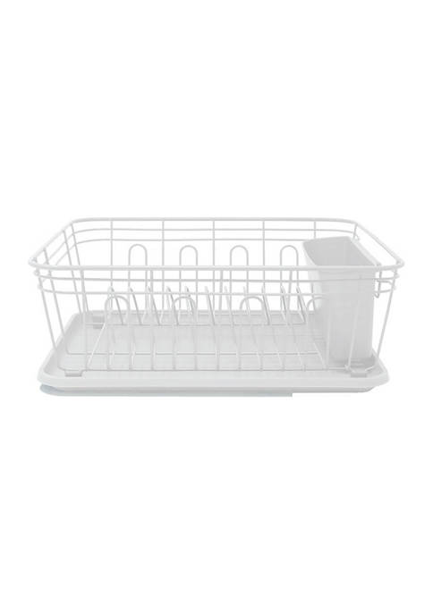 White Powder Coated Metal Wire Dish Rack