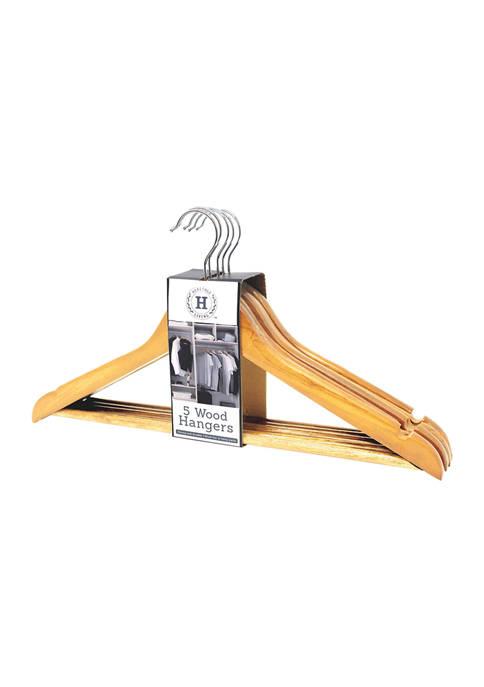 Heritage 5 Pack Wood Hangers