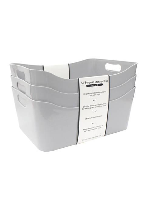 Medium All Purpose Storage Bins - Set of 3