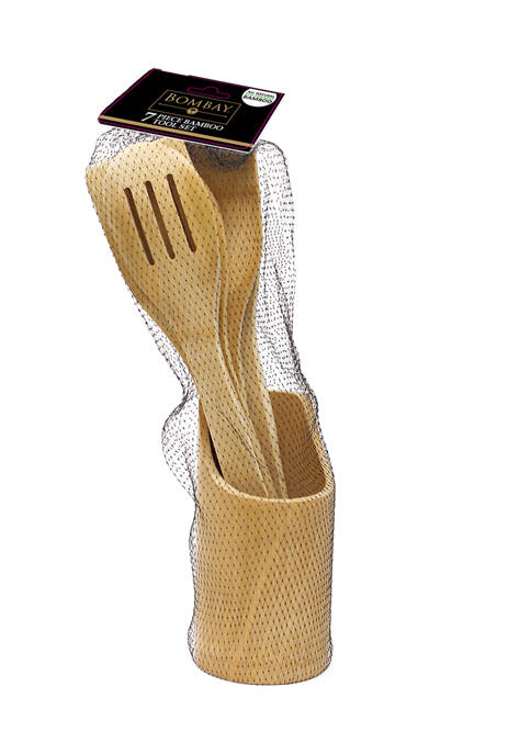 Bombay Bamboo Kitchen Utensils with Crock