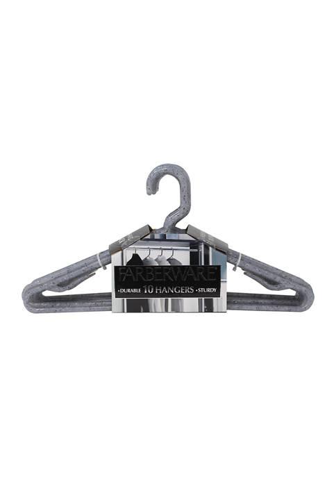 Farberware Set of 10 Granite Look Hangers- Grey