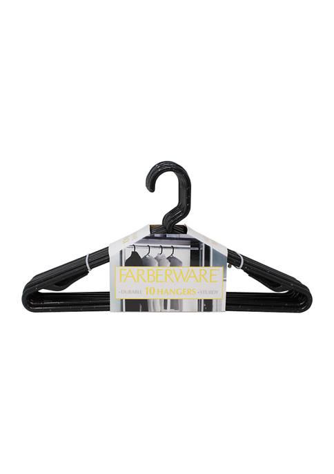 Farberware Set of 10 Granite Look Hangers- Black