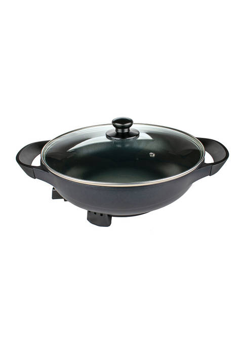 13-Inch Non-Stick Flat-Bottom Electric Wok Skillet with Vented Glass Lid